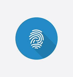 Fingerprint flat blue simple icon with long shadow vector