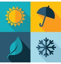 Four seasons weather icon set vector