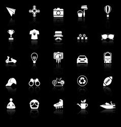 Hipster icons with reflect on black background vector