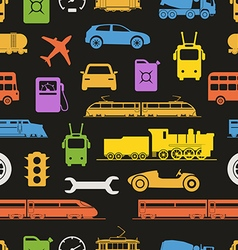 Vintage and modern vehicle color silhouettes vector
