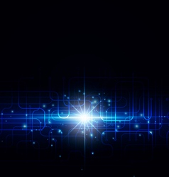 Abstract technology with bright flare on a dark vector