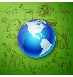 Planet and hand drawn animal vector