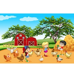 Children feeding animals in the farm vector