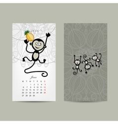 Calendar grid design monkey symbol of year 2016 vector