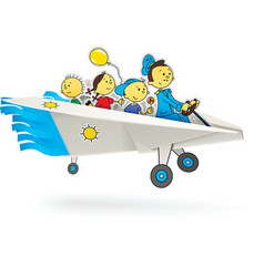 Paper airplane with children vector
