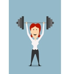 Businesswoman holding dumbbell above head vector