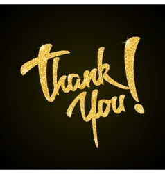 Thank you - gold glitter hand lettering on black vector