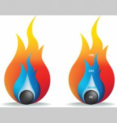 Fire gas water and oil vector