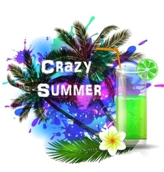Crazy summer background with green juice vector