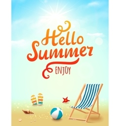 Hello Summer poster Hello Summer inscription on vector image