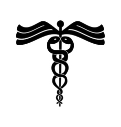 Caduceus design medical care concept silhouette vector