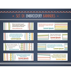Set of horizontal textile banners vector