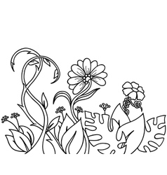 Abstract plants and flowers vector