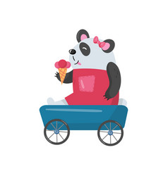 Baby girl panda sitting in toy wagon and eating vector