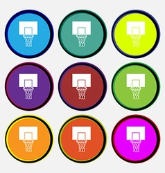Basketball backboard icon sign Nine multi colored vector image vector image