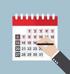Businessman hands mark on the calendar vector image vector image