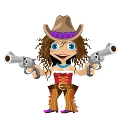 Cartoon character of wild west girl cowboy vector
