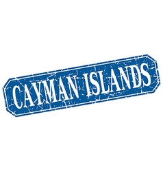 Cayman islands blue square grunge retro style sign vector