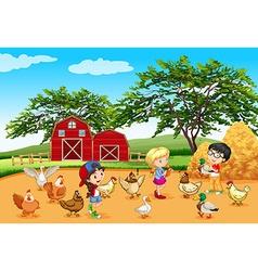 Children feeding animals in the farm vector