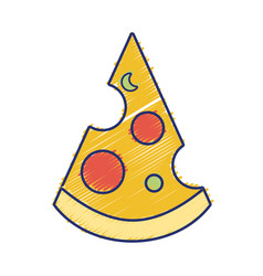 Delicious slice pizza unhealthy fast food vector