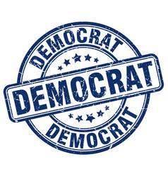 Democrat blue grunge round vintage rubber stamp vector