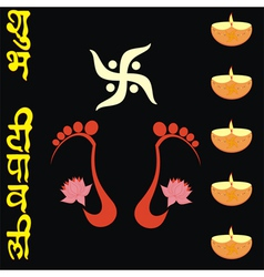 Dipawali card with lakshmi feet vector