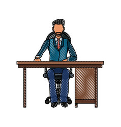 Drawing business man sitting desk working vector