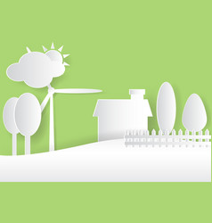 Eco nature environment white paper cut stylegreen vector