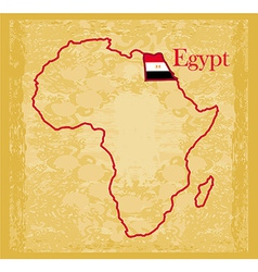 Egypt on actual vintage political map of africa vector