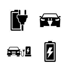 electrocar simple related icons vector image vector image