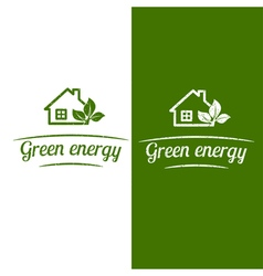 Green energy eco house design flat icon vector