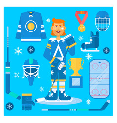 isolated hockey uniform equipment and vector image