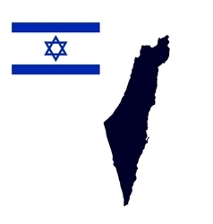 Israel map painted in the color of the flag vector