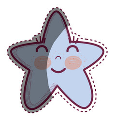 kawaii happy star with close eyes and cheeks vector image vector image