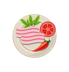 Lard pepper and tomato served food vector