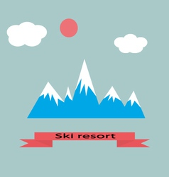 Mountain resort adventure skiing vector image