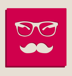 Mustache and glasses sign grayscale vector