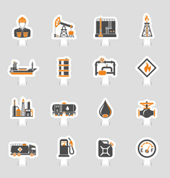 oil industry icons sticker set vector image vector image