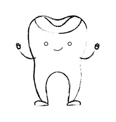 Restored tooth cartoon in monochrome blurred vector