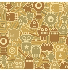 Retro seamless background with robots vector image vector image