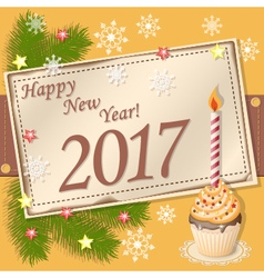 scrapbooking card Happy New Year 2017 vector image