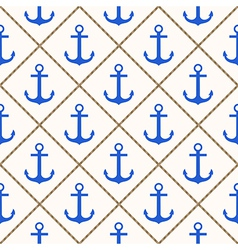 Seamless nautical pattern with blue anchors and ro vector image vector image