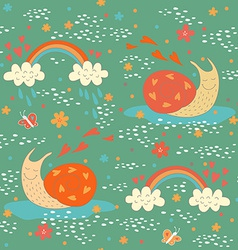 Seamless pattern with two cute snails vector image vector image