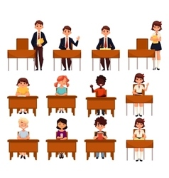 Set of school boys and girls sitting in the vector image