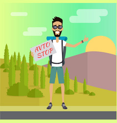 smiling young man hitchhiking vector image vector image