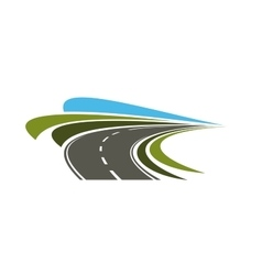 Steep turn of speed road icon vector