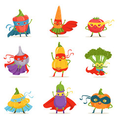 Superhero vegetables in masks and capes set of vector