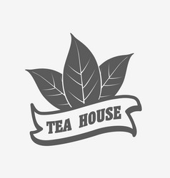 Tea house logo label or badge template vector