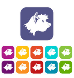Terrier dog icons set vector