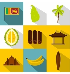 Tourism in sri lanka icons set flat style vector